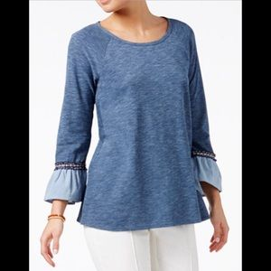 Style & Co. Space-Dyed Ruffle Cuff Top